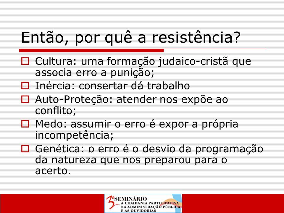 Então, por quê a resistência.