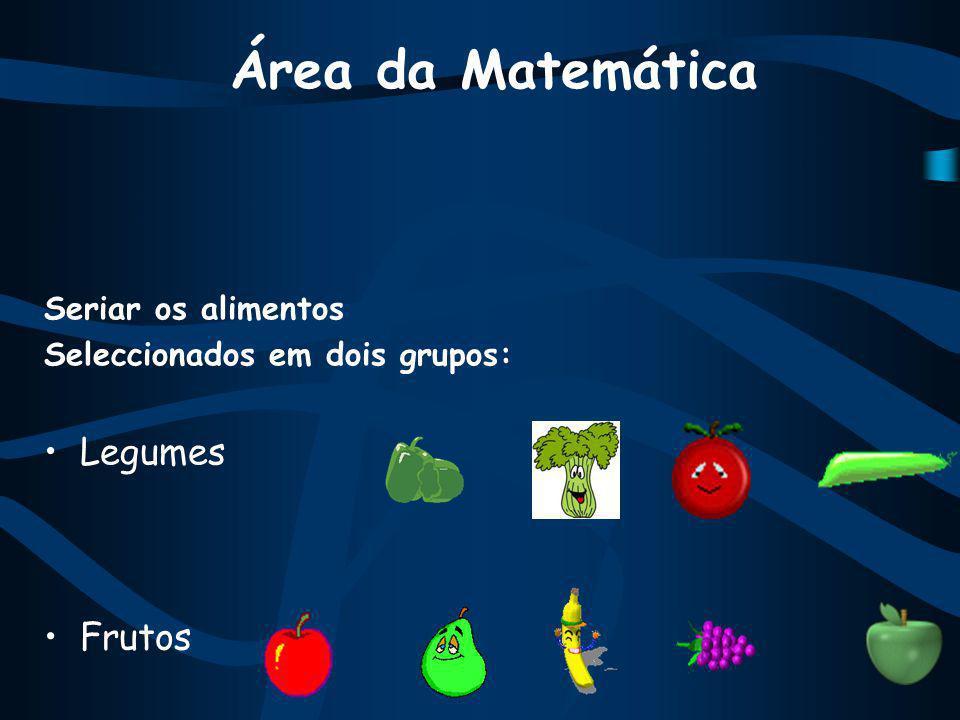 Área da Matemática Seriar os alimentos Seleccionados em dois grupos: Legumes Frutos