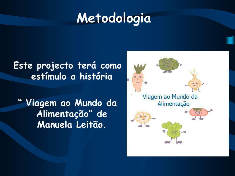 Metodologia Este projecto terá como estímulo a história Viagem ao Mundo da Alimentação de Manuela Leitão.