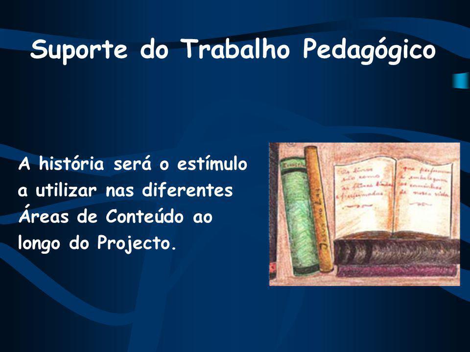 Suporte do Trabalho Pedagógico A história será o estímulo a utilizar nas diferentes Áreas de Conteúdo ao longo do Projecto.