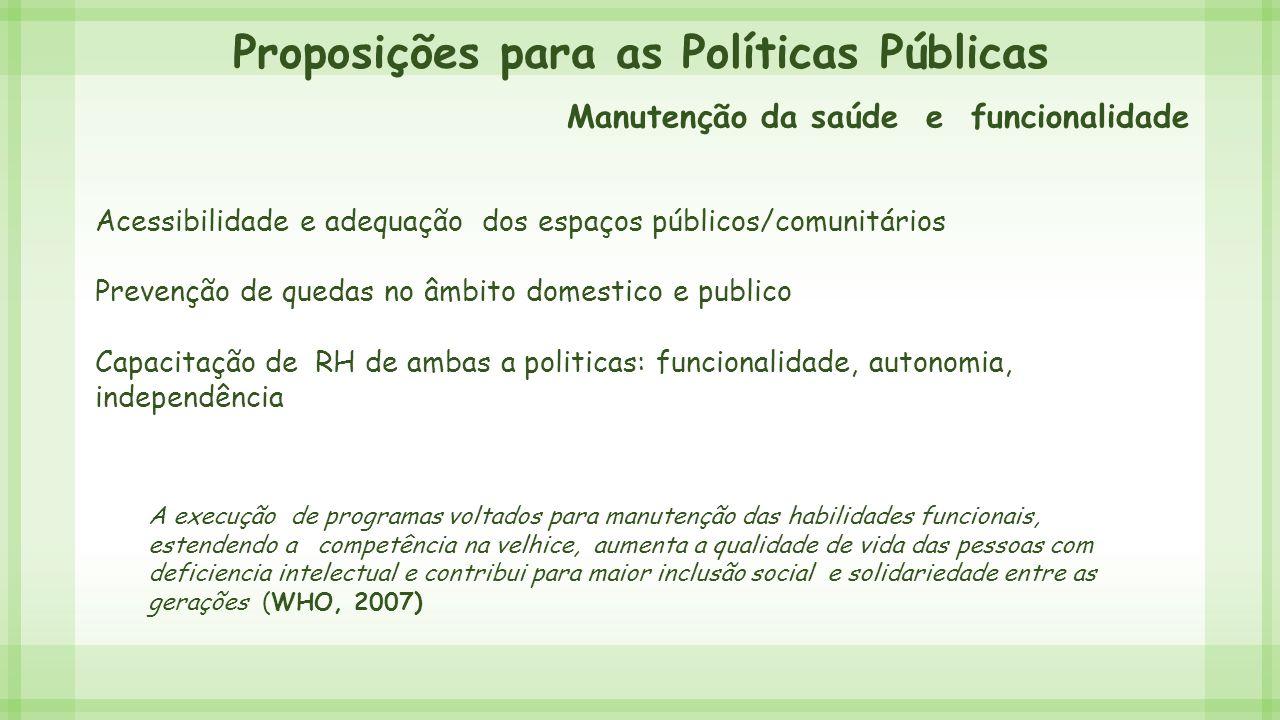 Proposições para as Políticas Públicas Manutenção da saúde e funcionalidade Acessibilidade e adequação dos espaços públicos/comunitários Prevenção de