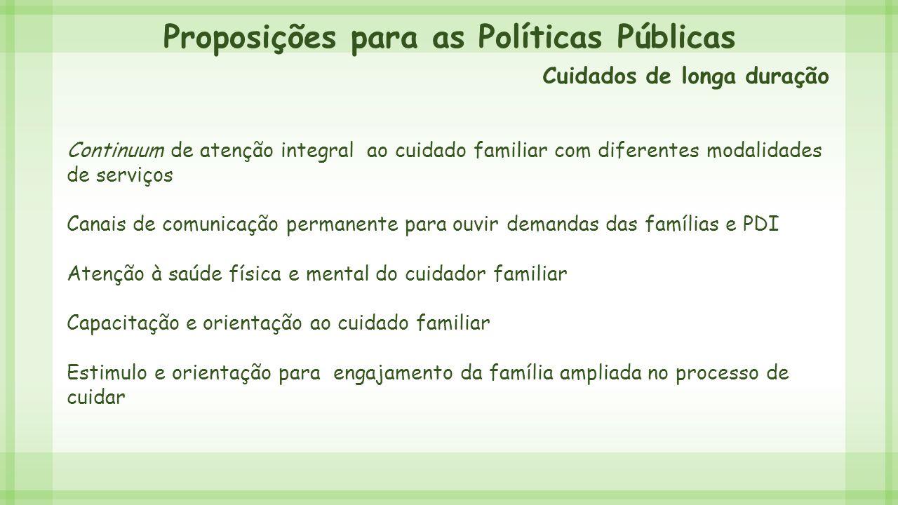 Proposições para as Políticas Públicas Continuum de atenção integral ao cuidado familiar com diferentes modalidades de serviços Canais de comunicação