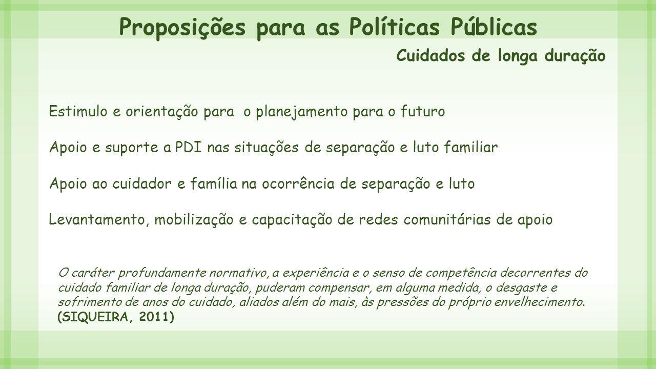 Proposições para as Políticas Públicas Estimulo e orientação para o planejamento para o futuro Apoio e suporte a PDI nas situações de separação e luto
