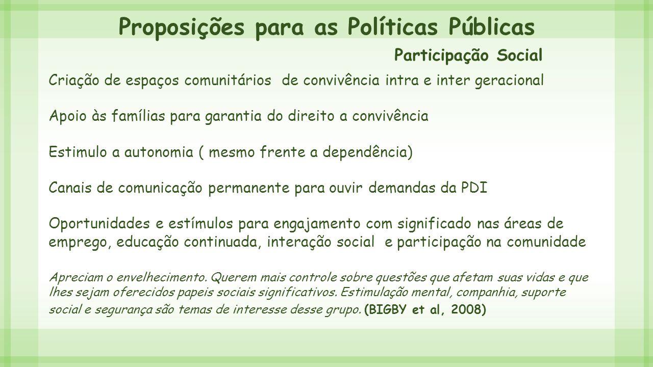 Proposições para as Políticas Públicas Criação de espaços comunitários de convivência intra e inter geracional Apoio às famílias para garantia do dire