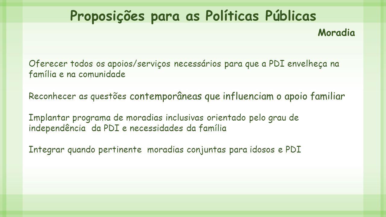 Proposições para as Políticas Públicas Oferecer todos os apoios/serviços necessários para que a PDI envelheça na família e na comunidade Reconhecer as