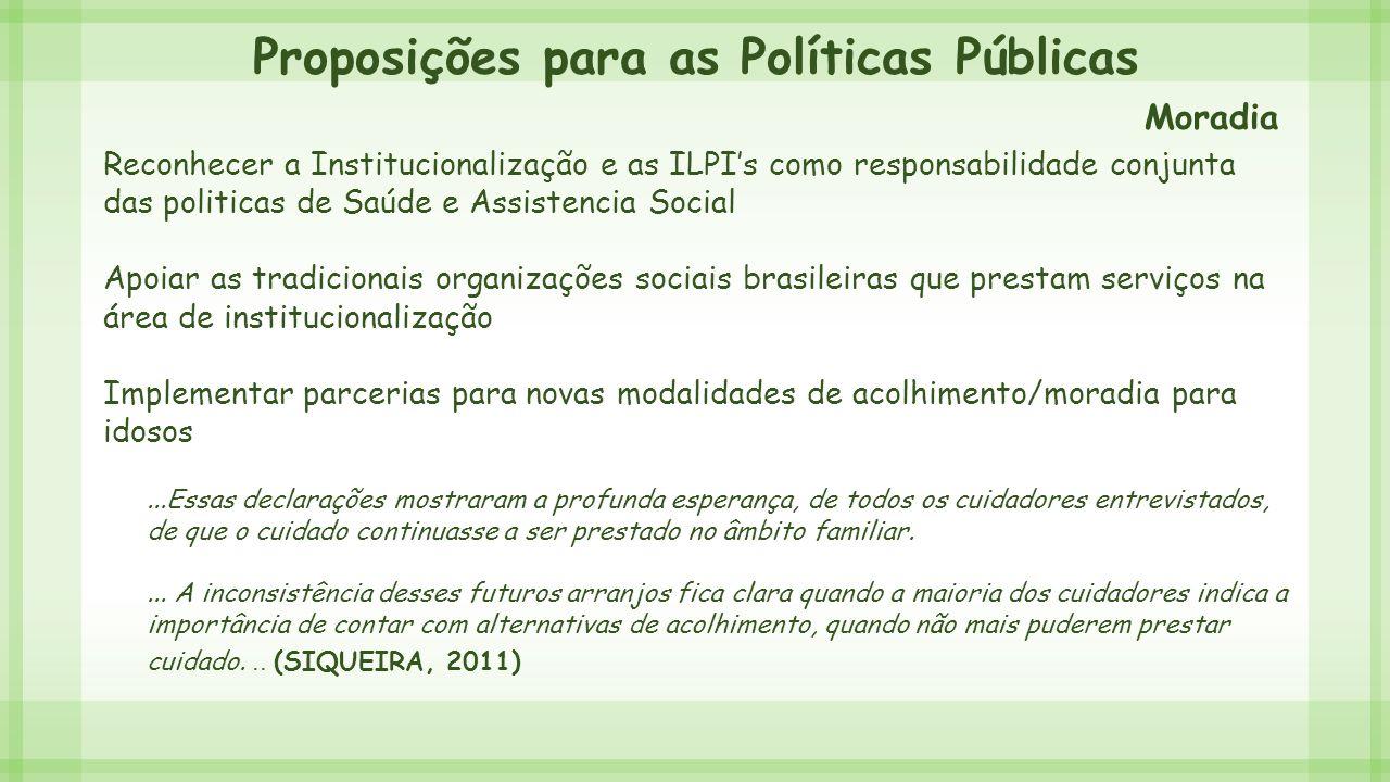 Proposições para as Políticas Públicas Reconhecer a Institucionalização e as ILPI's como responsabilidade conjunta das politicas de Saúde e Assistenci