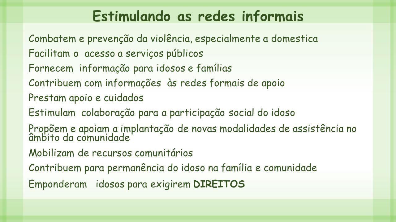 Estimulando as redes informais Combatem e prevenção da violência, especialmente a domestica Facilitam o acesso a serviços públicos Fornecem informação