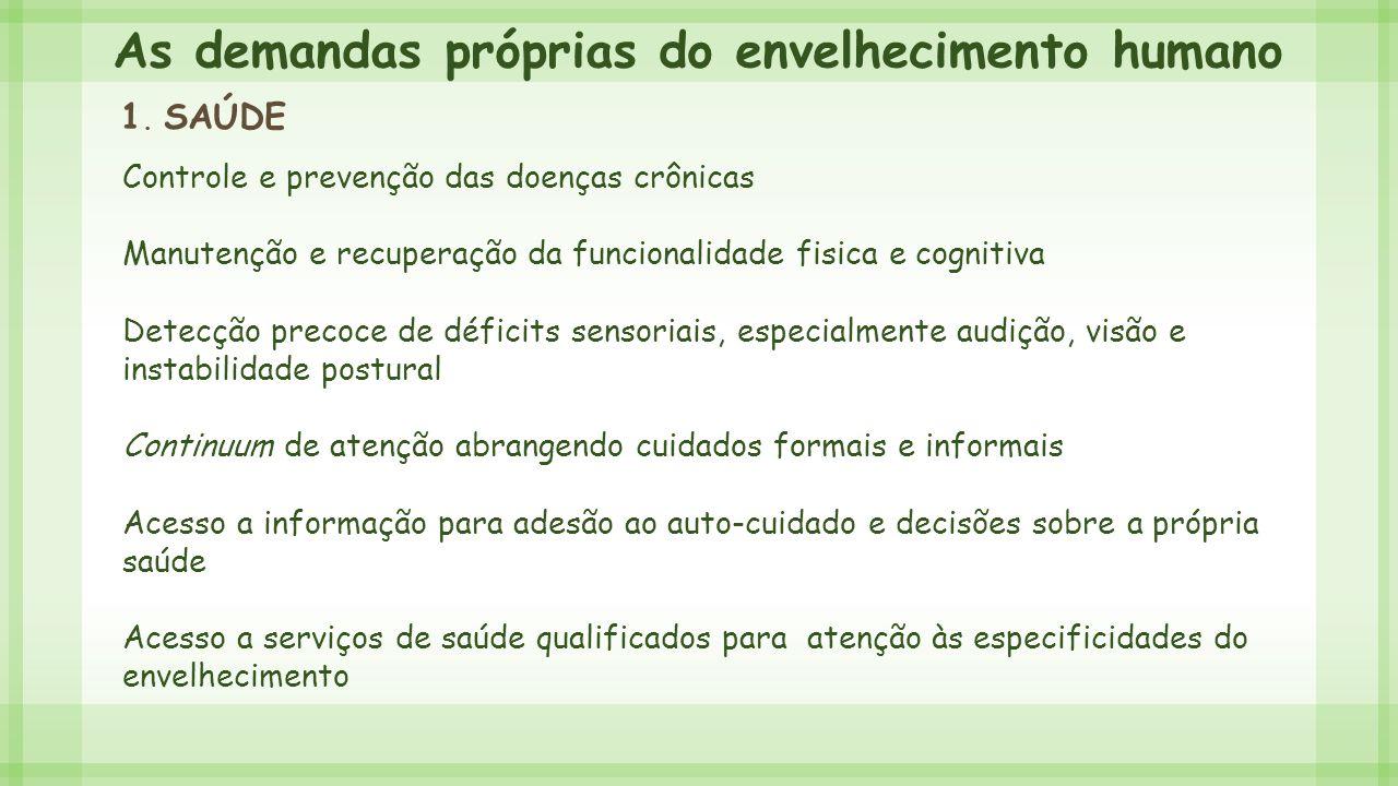 As demandas próprias do envelhecimento humano 1. SAÚDE Controle e prevenção das doenças crônicas Manutenção e recuperação da funcionalidade fisica e c