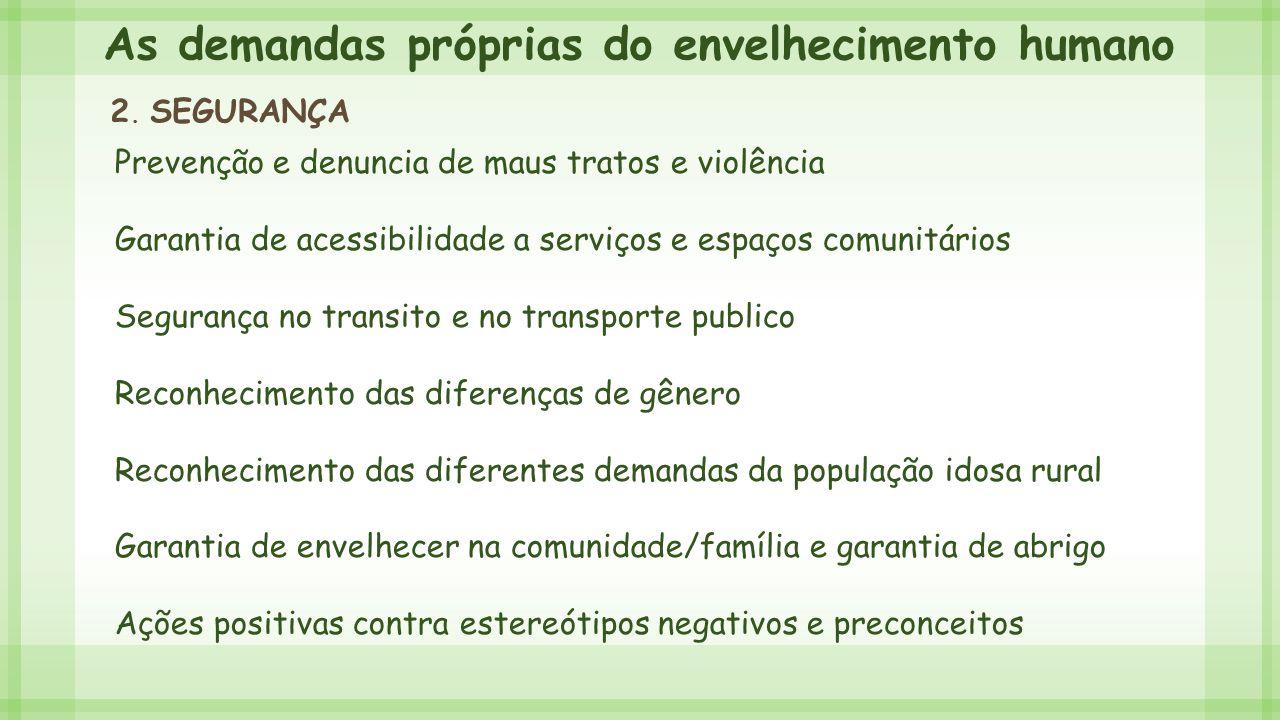 As demandas próprias do envelhecimento humano 2. SEGURANÇA Prevenção e denuncia de maus tratos e violência Garantia de acessibilidade a serviços e esp