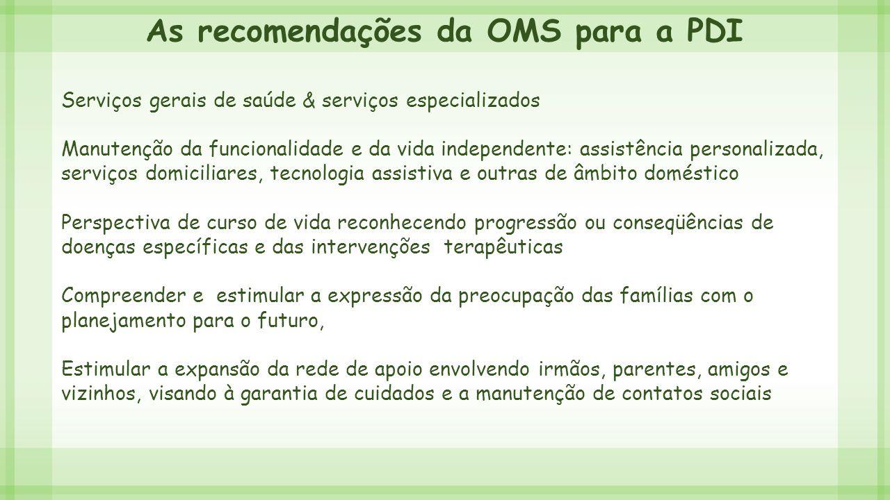 As recomendações da OMS para a PDI Serviços gerais de saúde & serviços especializados Manutenção da funcionalidade e da vida independente: assistência