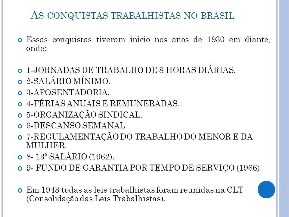 A S CONQUISTAS TRABALHISTAS NO BRASIL Essas conquistas tiveram inicio nos anos de 1930 em diante, onde: 1-JORNADAS DE TRABALHO DE 8 HORAS DIÁRIAS. 2-S