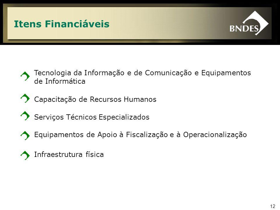 12 Itens Financiáveis Tecnologia da Informação e de Comunicação e Equipamentos de Informática Capacitação de Recursos Humanos Serviços Técnicos Especializados Equipamentos de Apoio à Fiscalização e à Operacionalização Infraestrutura física