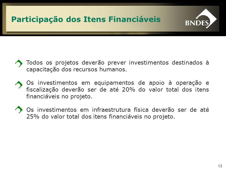 13 Participação dos Itens Financiáveis Todos os projetos deverão prever investimentos destinados à capacitação dos recursos humanos. Os investimentos