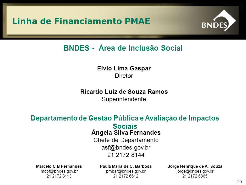 20 Linha de Financiamento PMAE BNDES - Área de Inclusão Social Ângela Silva Fernandes Chefe de Departamento asf@bndes.gov.br 21 2172 8144 Marcelo C B