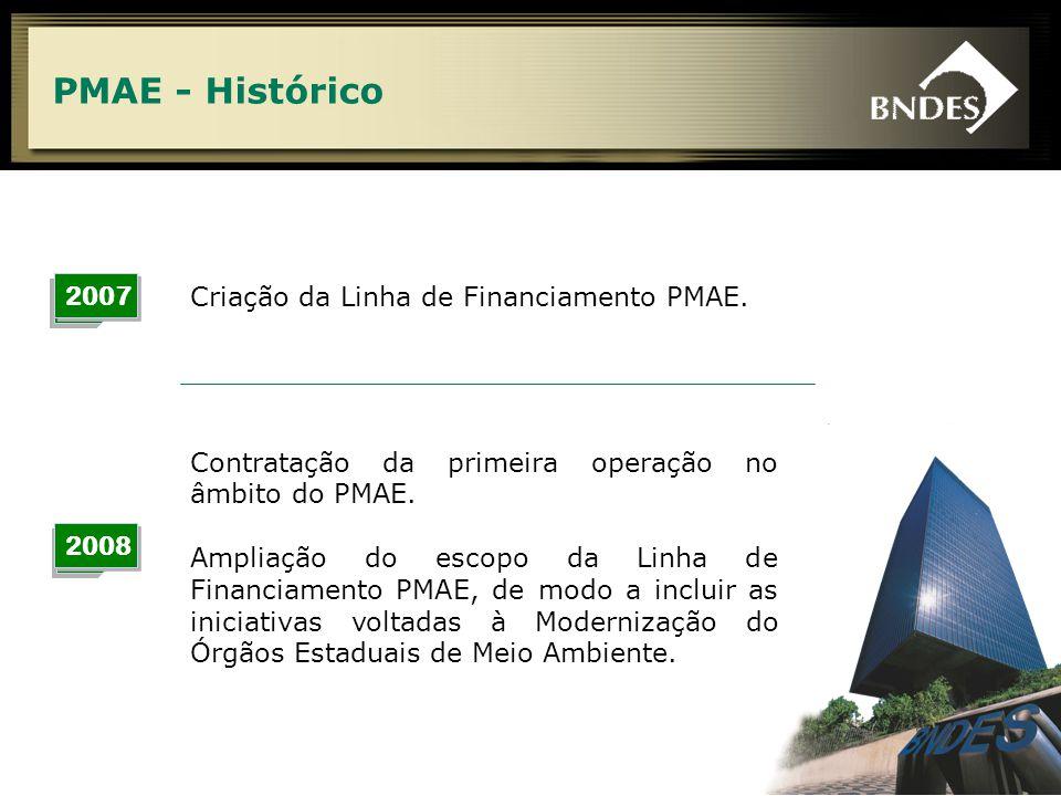 4 PMAE - Histórico 2007 Criação da Linha de Financiamento PMAE. 2008 Contratação da primeira operação no âmbito do PMAE. Ampliação do escopo da Linha