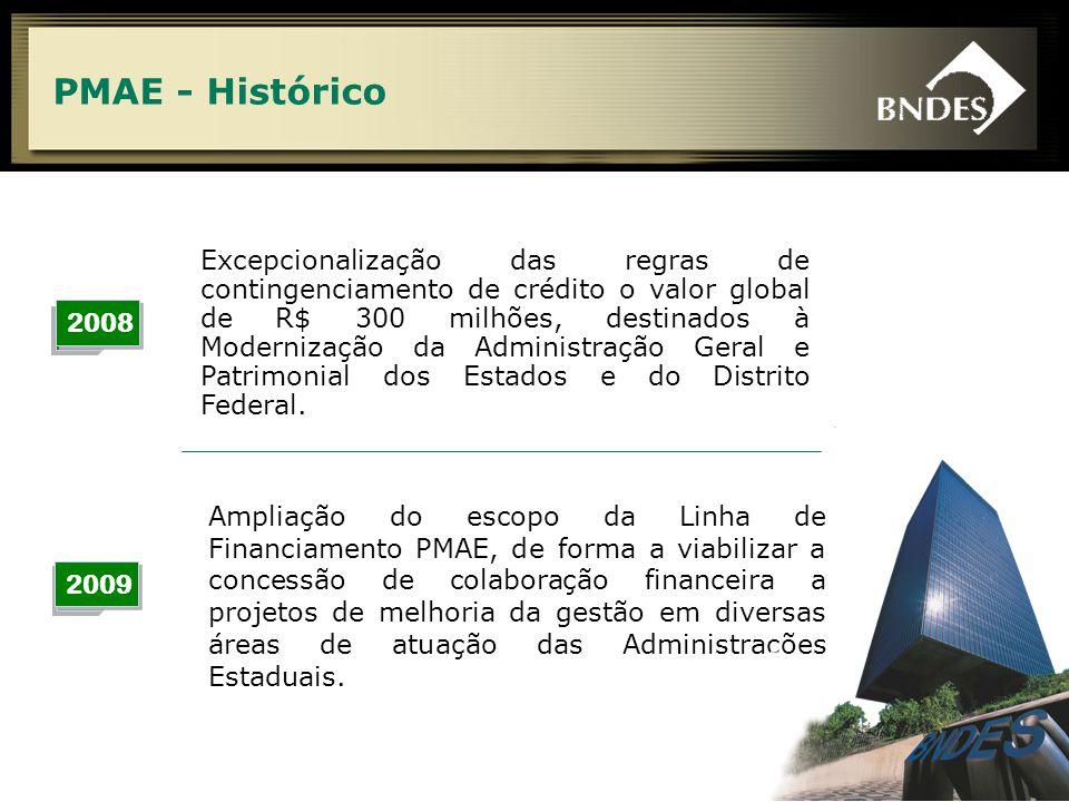 5 PMAE - Histórico 2008 2009 Ampliação do escopo da Linha de Financiamento PMAE, de forma a viabilizar a concessão de colaboração financeira a projetos de melhoria da gestão em diversas áreas de atuação das Administrações Estaduais.