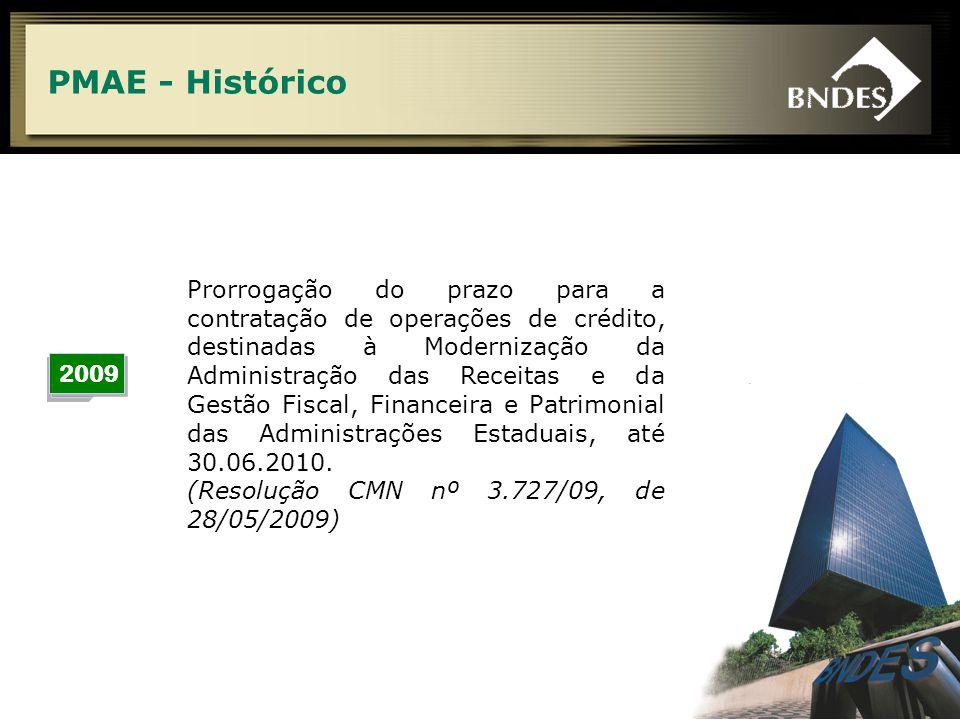 6 PMAE - Histórico 2009 Prorrogação do prazo para a contratação de operações de crédito, destinadas à Modernização da Administração das Receitas e da Gestão Fiscal, Financeira e Patrimonial das Administrações Estaduais, até 30.06.2010.