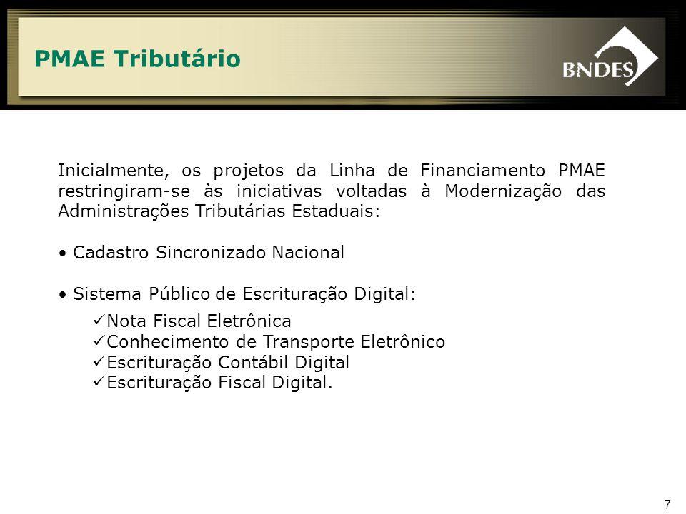 7 PMAE Tributário Inicialmente, os projetos da Linha de Financiamento PMAE restringiram-se às iniciativas voltadas à Modernização das Administrações T