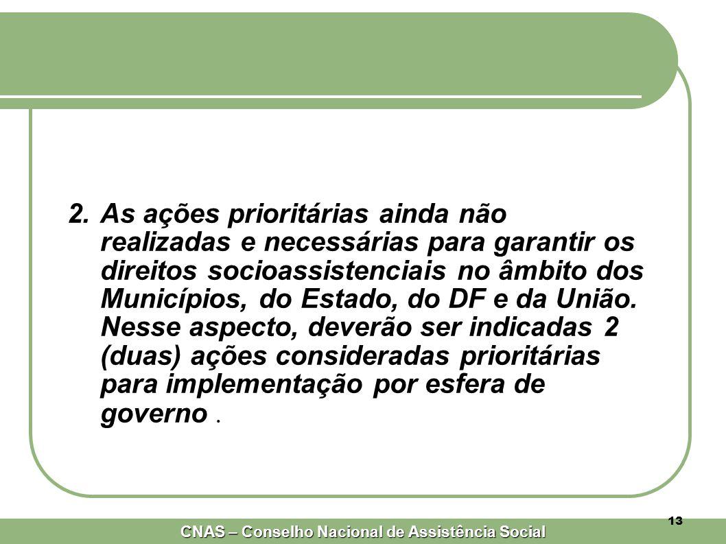 CNAS – Conselho Nacional de Assistência Social 13 2.As ações prioritárias ainda não realizadas e necessárias para garantir os direitos socioassistenciais no âmbito dos Municípios, do Estado, do DF e da União.