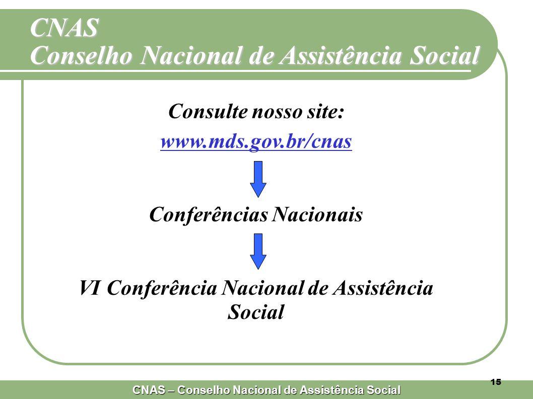 CNAS – Conselho Nacional de Assistência Social 15 Consulte nosso site: www.mds.gov.br/cnas Conferências Nacionais VI Conferência Nacional de Assistência Social CNAS Conselho Nacional de Assistência Social