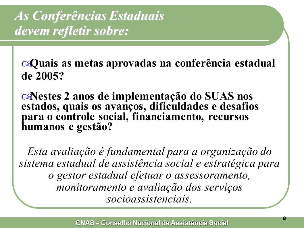 CNAS – Conselho Nacional de Assistência Social 6  Quais as metas aprovadas na conferência estadual de 2005.