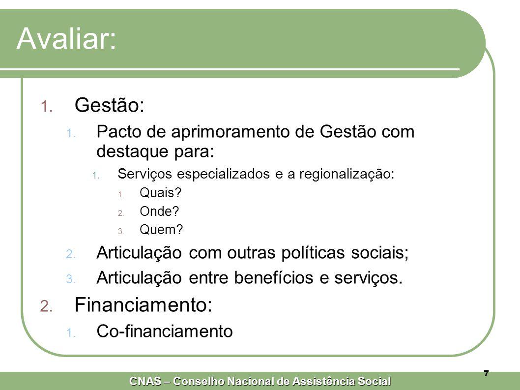 CNAS – Conselho Nacional de Assistência Social 7 Avaliar: 1.