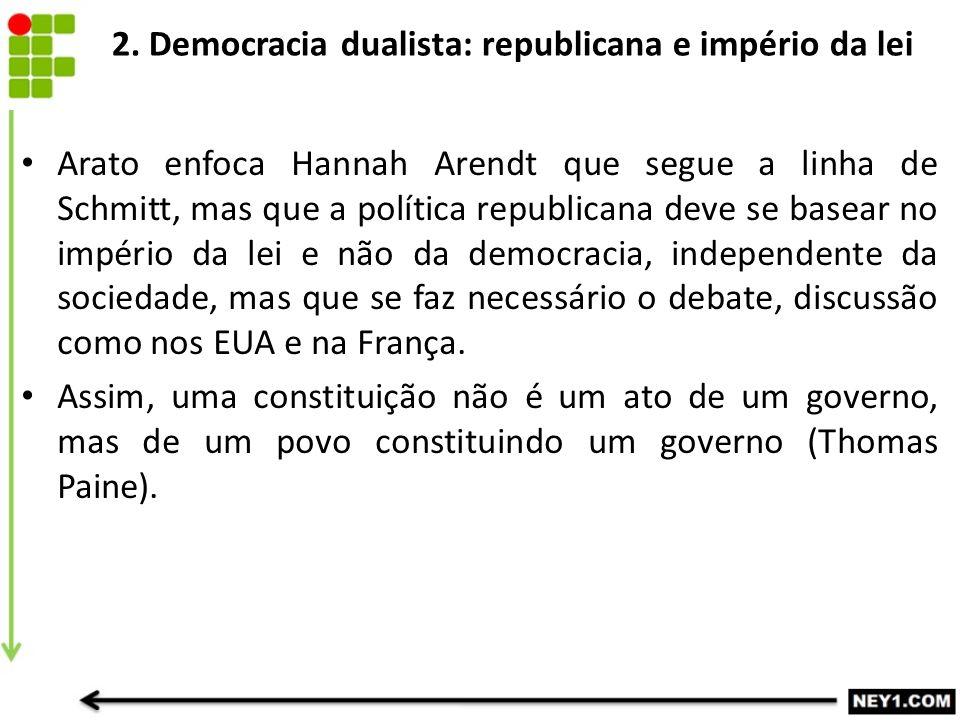 2. Democracia dualista: republicana e império da lei Arato enfoca Hannah Arendt que segue a linha de Schmitt, mas que a política republicana deve se b