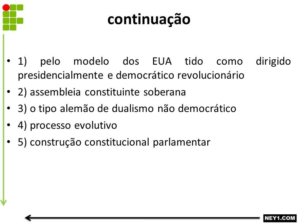 continuação 1) pelo modelo dos EUA tido como dirigido presidencialmente e democrático revolucionário 2) assembleia constituinte soberana 3) o tipo ale