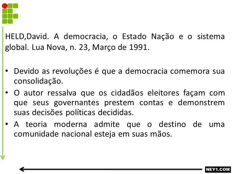 HELD,David. A democracia, o Estado Nação e o sistema global. Lua Nova, n. 23, Março de 1991. Devido as revoluções é que a democracia comemora sua cons