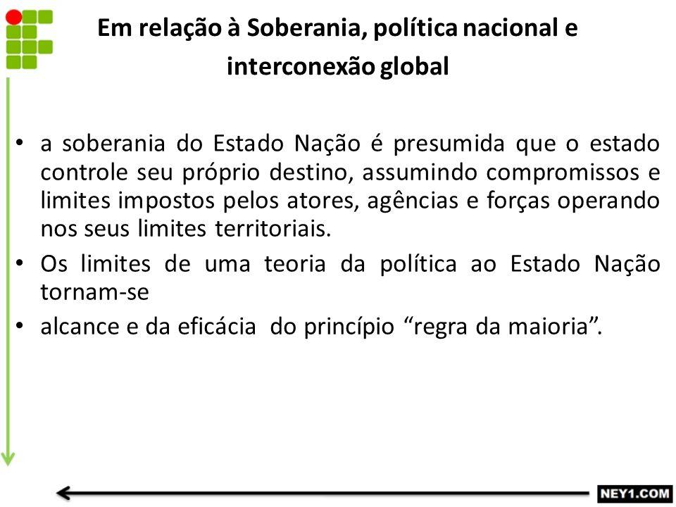 Em relação à Soberania, política nacional e interconexão global a soberania do Estado Nação é presumida que o estado controle seu próprio destino, ass