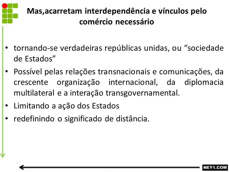 """Mas,acarretam interdependência e vínculos pelo comércio necessário tornando-se verdadeiras repúblicas unidas, ou """"sociedade de Estados"""" Possível pelas"""