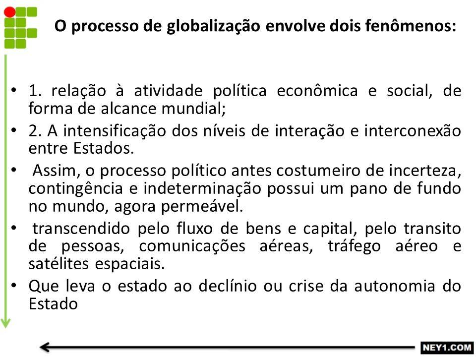 O processo de globalização envolve dois fenômenos: 1. relação à atividade política econômica e social, de forma de alcance mundial; 2. A intensificaçã