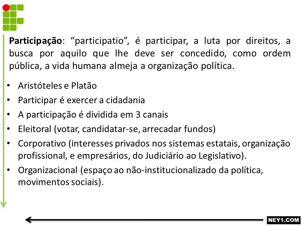 """Participação: """"participatio"""", é participar, a luta por direitos, a busca por aquilo que lhe deve ser concedido, como ordem pública, a vida humana alme"""