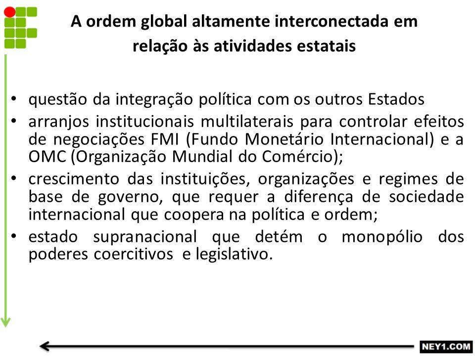 A ordem global altamente interconectada em relação às atividades estatais questão da integração política com os outros Estados arranjos institucionais