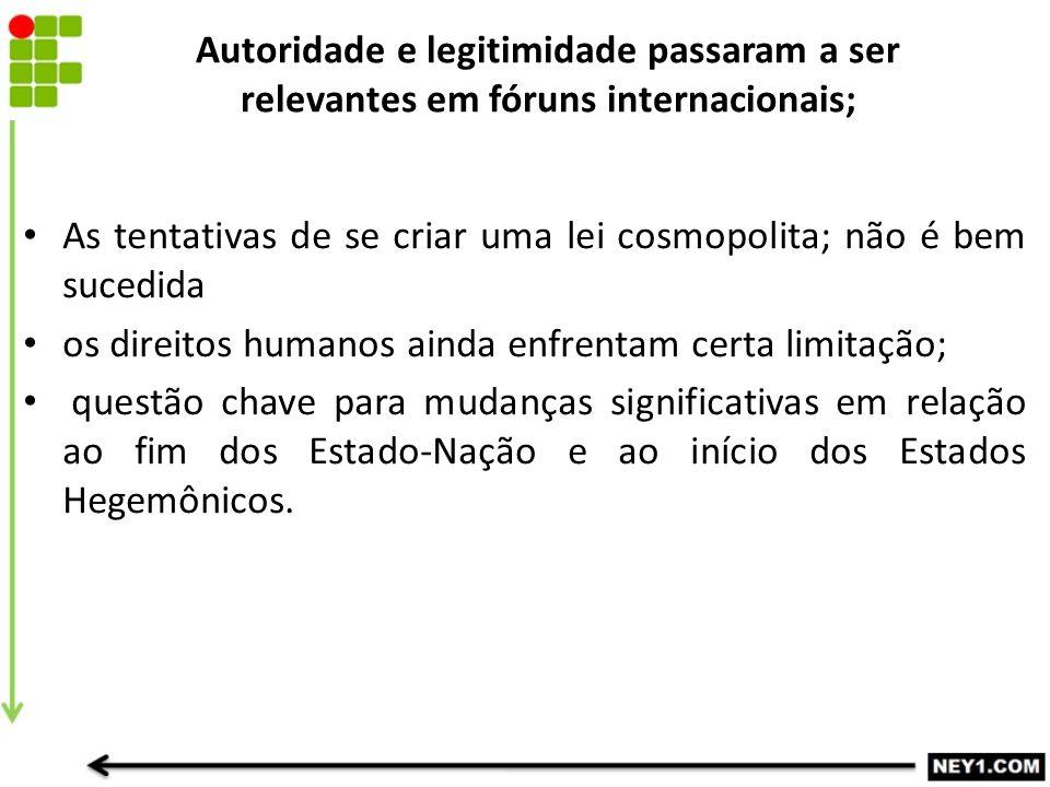 Autoridade e legitimidade passaram a ser relevantes em fóruns internacionais; As tentativas de se criar uma lei cosmopolita; não é bem sucedida os dir