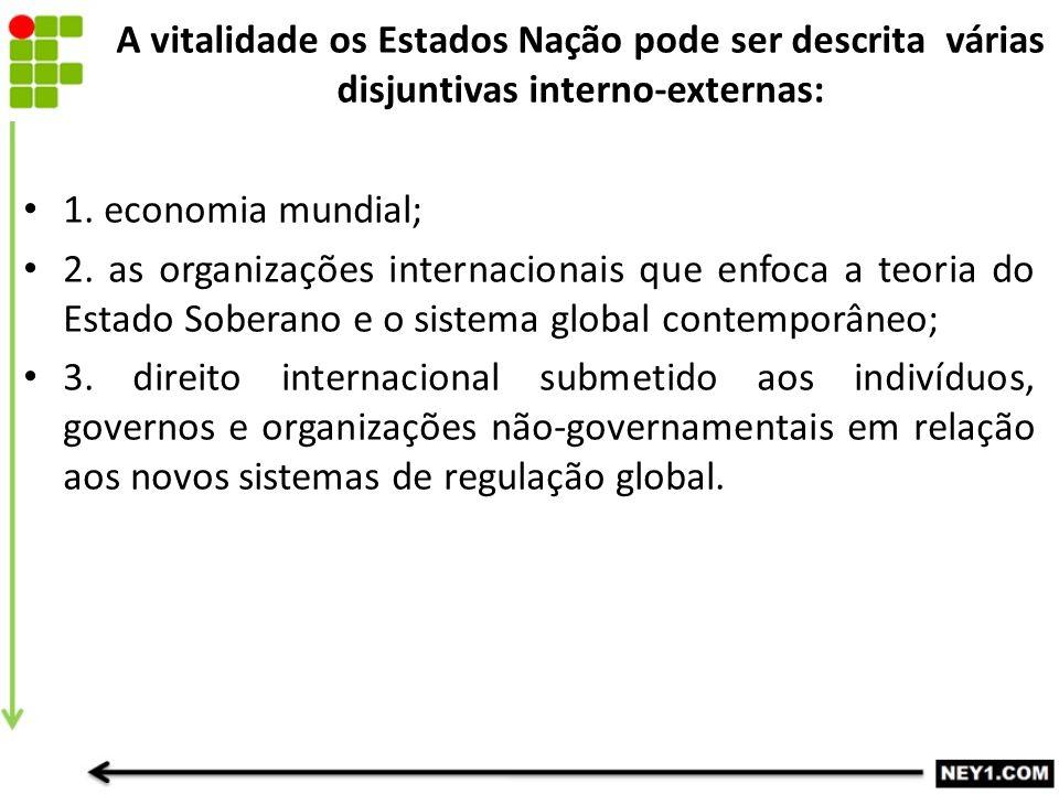 A vitalidade os Estados Nação pode ser descrita várias disjuntivas interno-externas: 1. economia mundial; 2. as organizações internacionais que enfoca