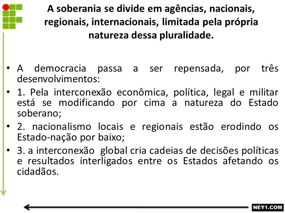 A soberania se divide em agências, nacionais, regionais, internacionais, limitada pela própria natureza dessa pluralidade. A democracia passa a ser re