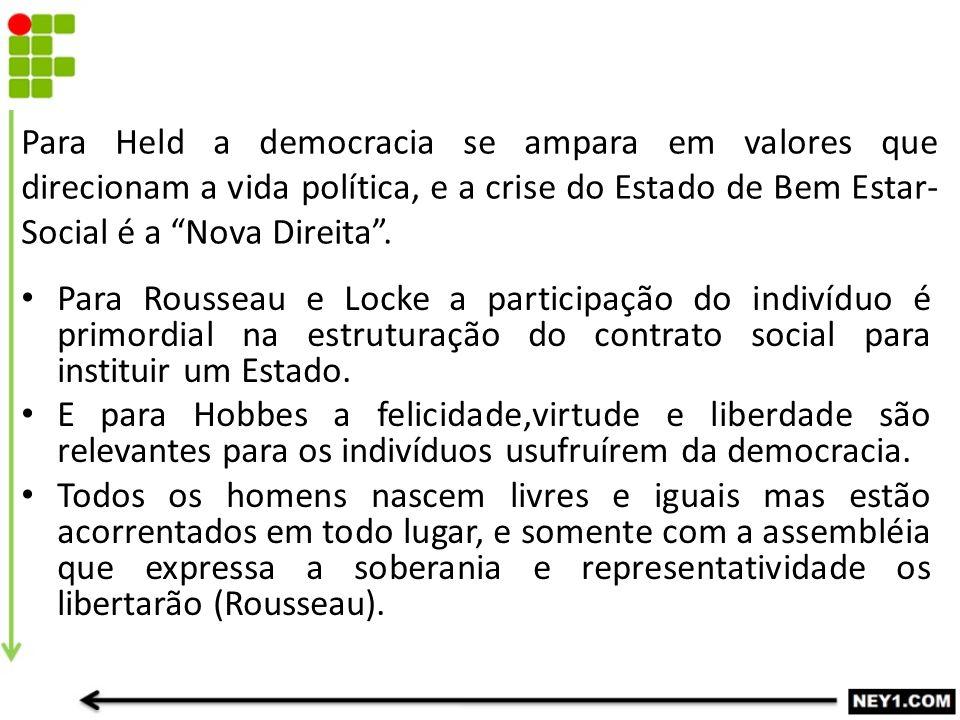 """Para Held a democracia se ampara em valores que direcionam a vida política, e a crise do Estado de Bem Estar- Social é a """"Nova Direita"""". Para Rousseau"""