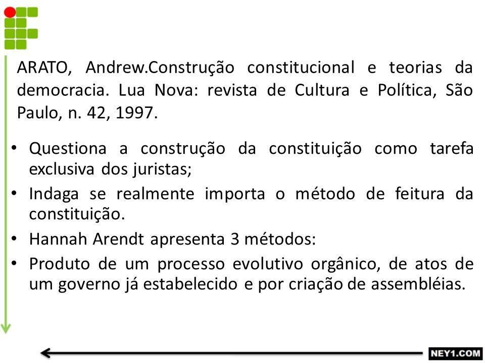 ARATO, Andrew.Construção constitucional e teorias da democracia. Lua Nova: revista de Cultura e Política, São Paulo, n. 42, 1997. Questiona a construç