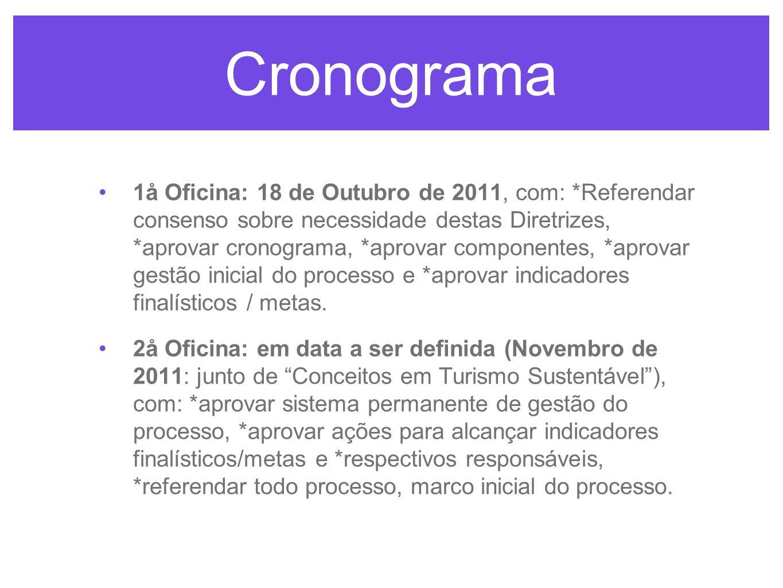 Cronograma 1å Oficina: 18 de Outubro de 2011, com: *Referendar consenso sobre necessidade destas Diretrizes, *aprovar cronograma, *aprovar componentes, *aprovar gestão inicial do processo e *aprovar indicadores finalísticos / metas.