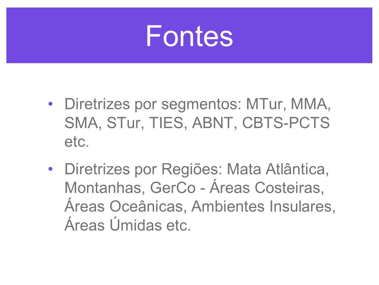 Fontes Diretrizes por segmentos: MTur, MMA, SMA, STur, TIES, ABNT, CBTS-PCTS etc.