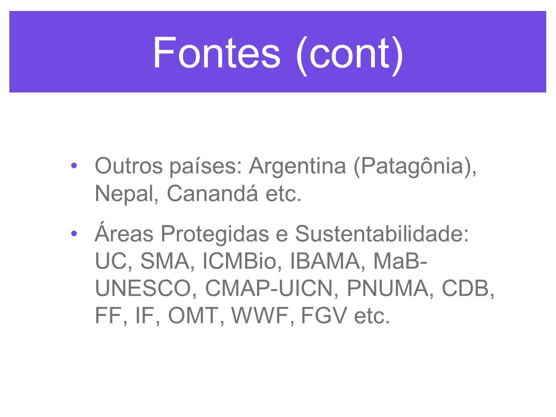 Fontes (cont) Outros países: Argentina (Patagônia), Nepal, Canandá etc.