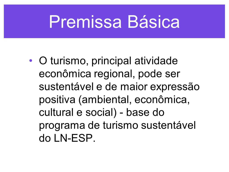 Premissa Básica O turismo, principal atividade econômica regional, pode ser sustentável e de maior expressão positiva (ambiental, econômica, cultural e social) - base do programa de turismo sustentável do LN-ESP.
