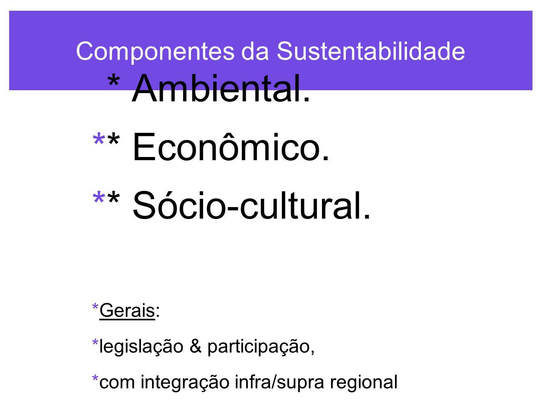 Componentes da Sustentabilidade  * Ambiental. * Econômico.