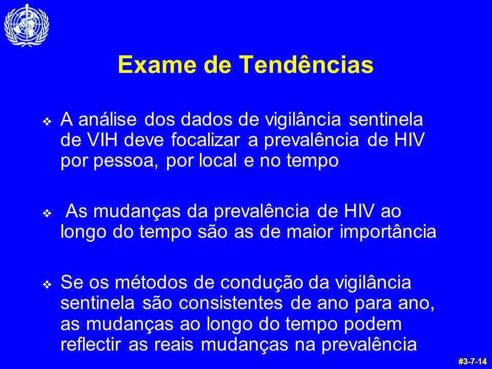 Exame de Tendências  A análise dos dados de vigilância sentinela de VIH deve focalizar a prevalência de HIV por pessoa, por local e no tempo  As mudanças da prevalência de HIV ao longo do tempo são as de maior importância  Se os métodos de condução da vigilância sentinela são consistentes de ano para ano, as mudanças ao longo do tempo podem reflectir as reais mudanças na prevalência #3-7-14