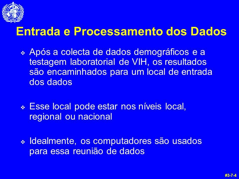 Entrada e Processamento dos Dados  Após a colecta de dados demográficos e a testagem laboratorial de VIH, os resultados são encaminhados para um local de entrada dos dados  Esse local pode estar nos níveis local, regional ou nacional  Idealmente, os computadores são usados para essa reunião de dados #3-7-4