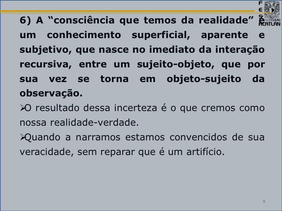6) A consciência que temos da realidade é um conhecimento superficial, aparente e subjetivo, que nasce no imediato da interação recursiva, entre um sujeito-objeto, que por sua vez se torna em objeto-sujeito da observação.