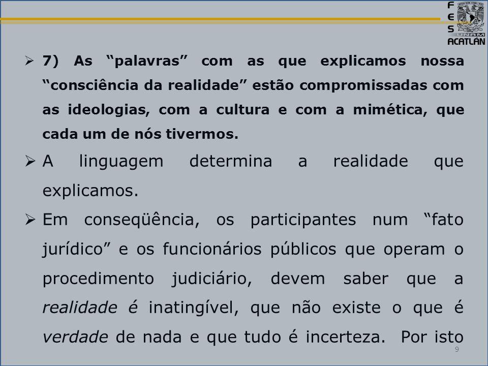  7) As palavras com as que explicamos nossa consciência da realidade estão compromissadas com as ideologias, com a cultura e com a mimética, que cada um de nós tivermos.