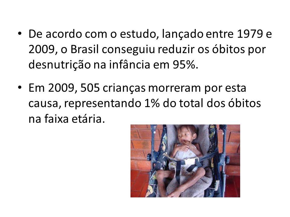 De acordo com o estudo, lançado entre 1979 e 2009, o Brasil conseguiu reduzir os óbitos por desnutrição na infância em 95%.