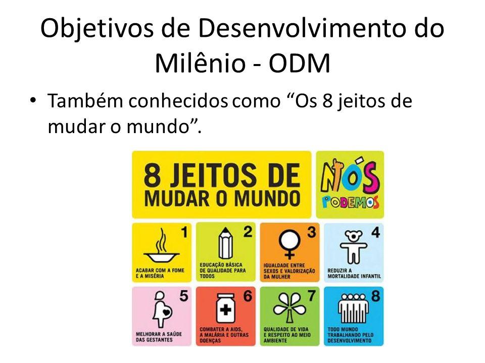 Objetivos de Desenvolvimento do Milênio - ODM Também conhecidos como Os 8 jeitos de mudar o mundo .